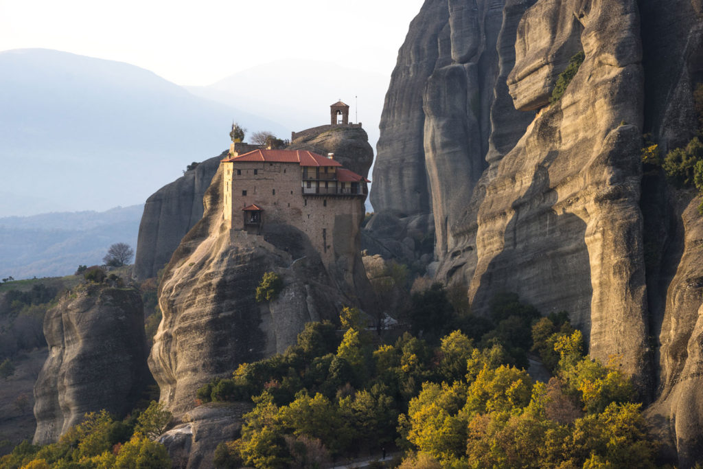 Saint Nikolaos of Anapafsas. The Monastery of Meteora during the evening light