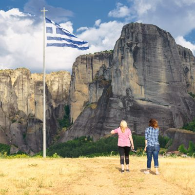 Walking to Greek flag of Meteora