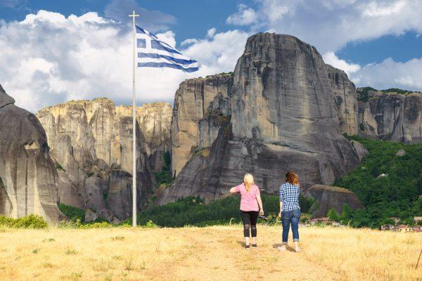 Walking to Greek flag of Meteora