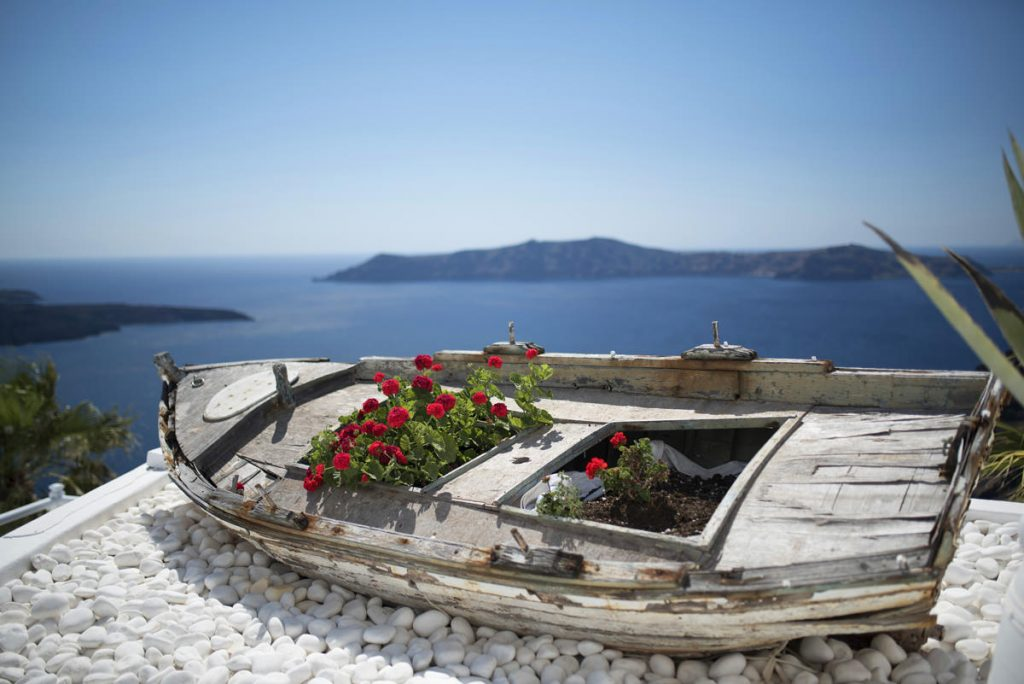 A boat on a balcony of Santorini island