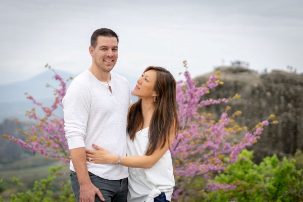 Couple photo shooting in Meteora at Spring