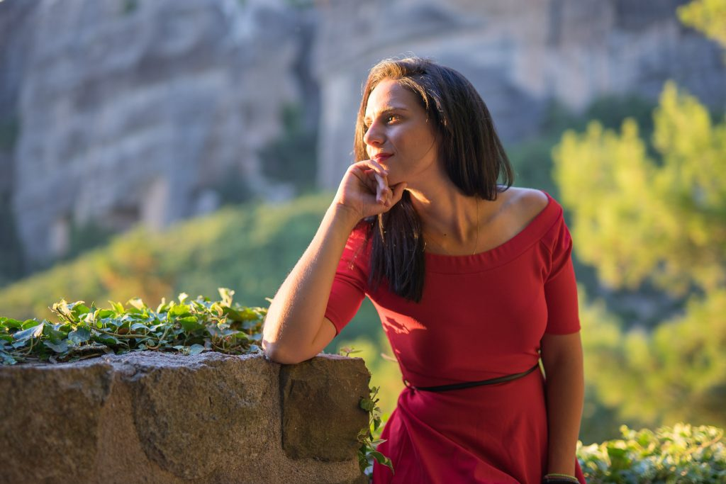 Photo Shoot during the golden light of Meteora Sunset