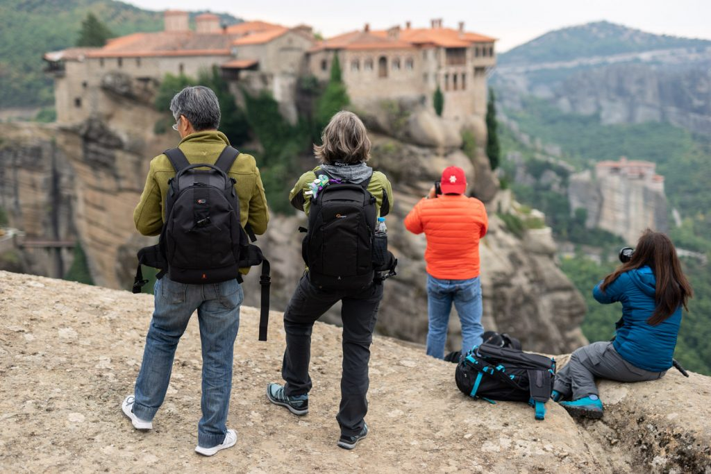 During a photo tour at Meteora, the photographers capture the monastery