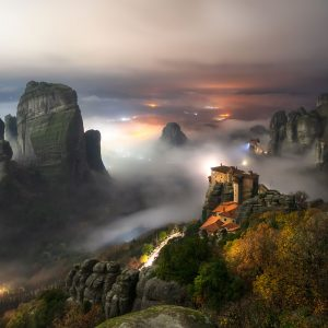 fog around the rocks of Meteora create a magical landscape