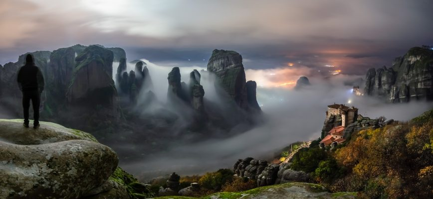 After a rainy day the fog around the rocks of Meteora create a magical landscape