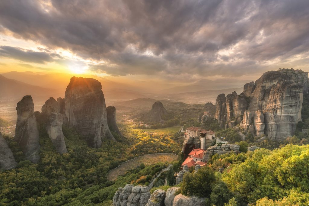Breathtaking Sunset of Meteora in Fall Colors in Autumn