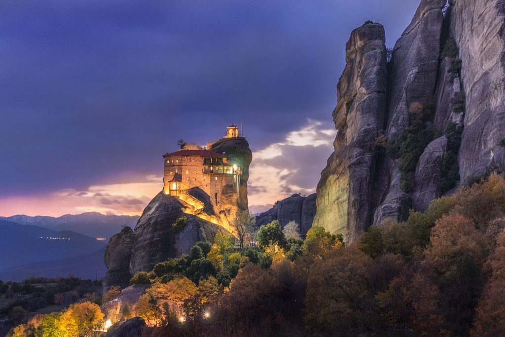 St. Nikolaos of Anapafsas. The Monastery of Meteora celebrate and all the lights are on in fall colors!