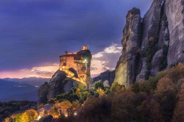 St. Nikolaos of Anapafsas. The Monastery of Meteora celebrate and all the lights are on!