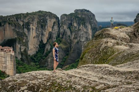 Couple photo shooting in Meteora backdrop