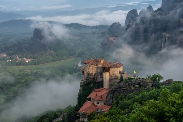 Beautifull senery at Meteora in a misty morning