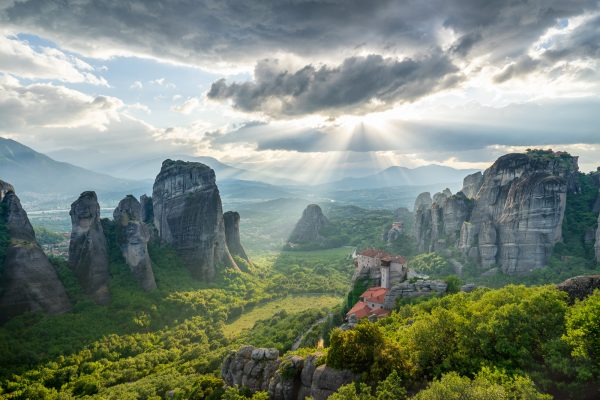 Beautifull senery at Meteora in evening light