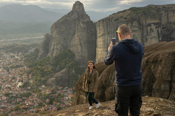 Photo shoot in Meteora by a mobile phone