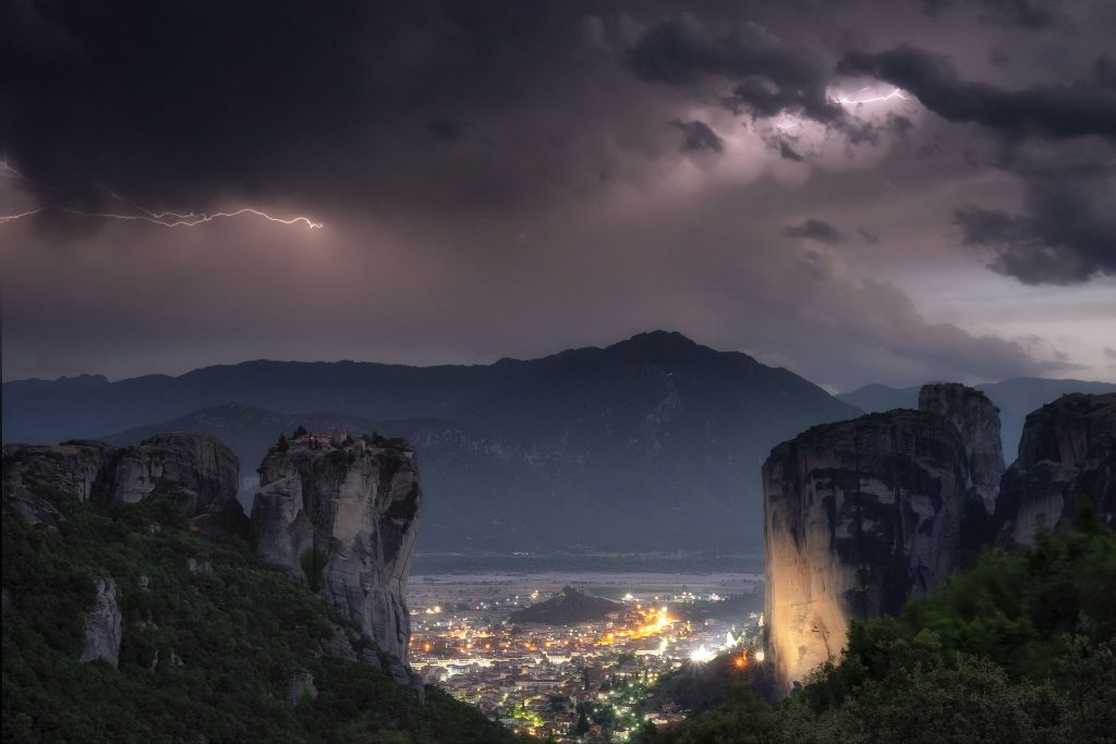 Lightning over the rocks of Meteora
