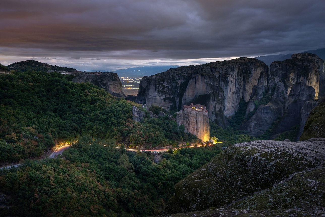 The Rousanou Monastery of Meteora and Long Exposure Light Trails