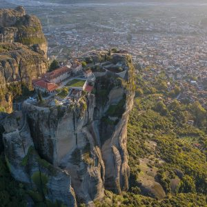 Monastery of Holy Trinity and the city of Kalampaka captured by a drone