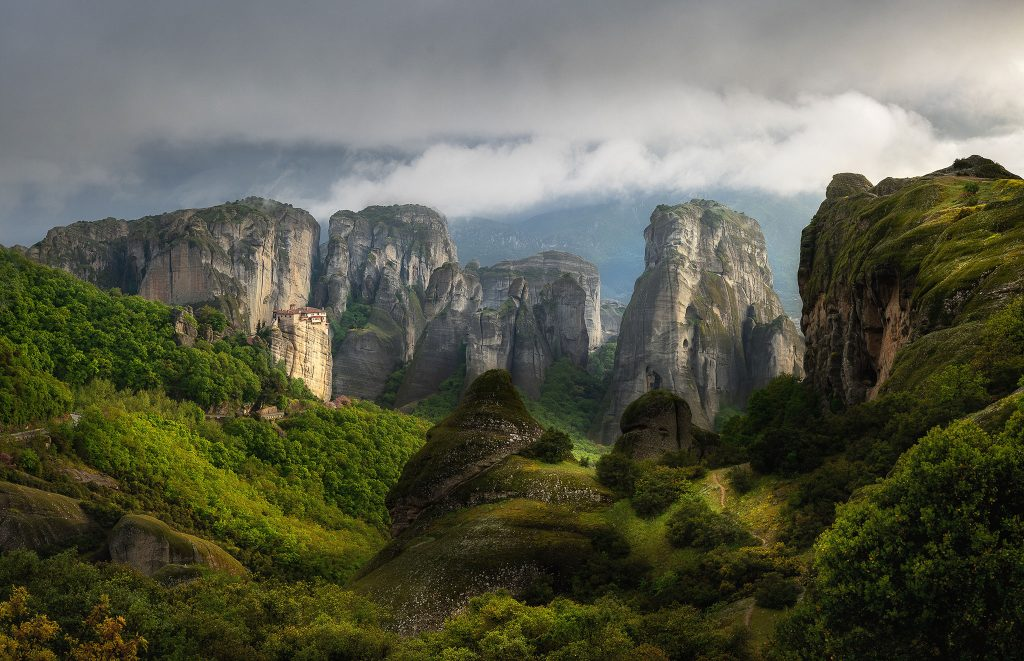 Nice light, when the sun sets down on Meteora in a cloudy day