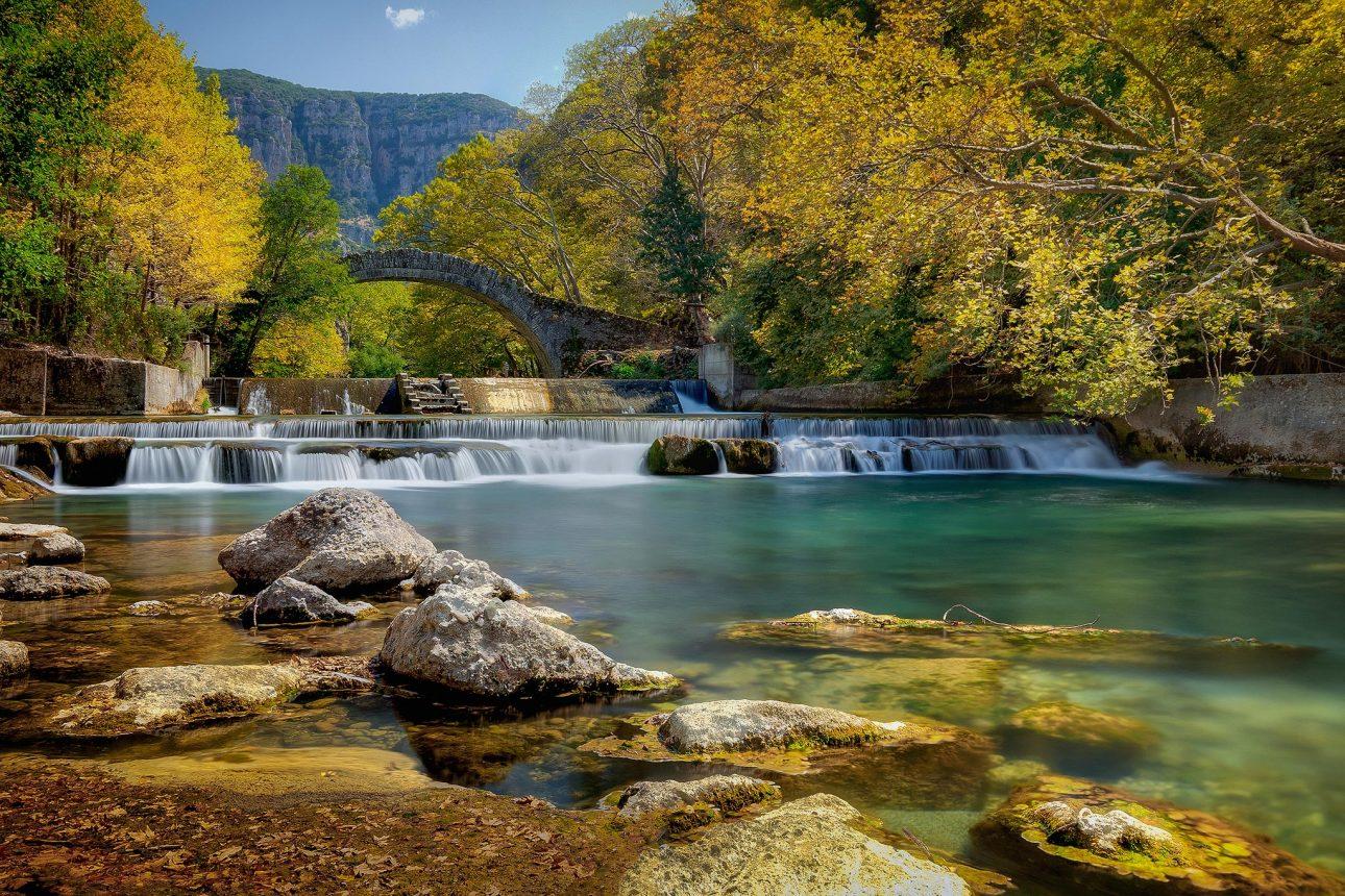 Kleidonia bridge in zagori and Voidomatis river