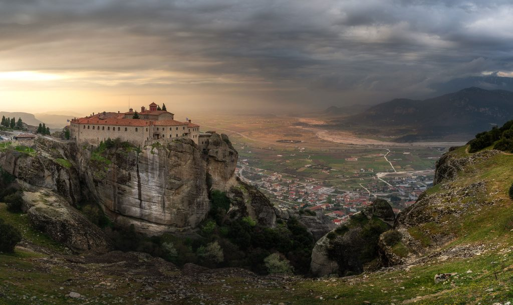 The Monastery of Saint Stephen and the valley of Thessaly in the sunrise